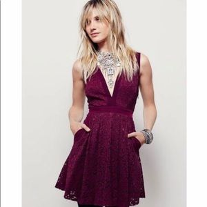 Free People maroon lace floral dress